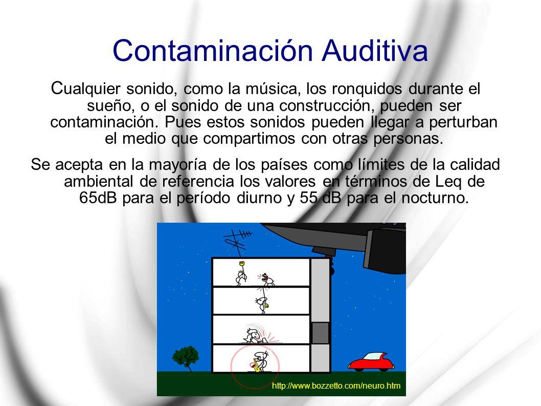Contaminación Auditiva C ualquier sonido, como la música, los ronquidos durante el sueño, o el sonido de una construcción, pueden ser contaminación. P