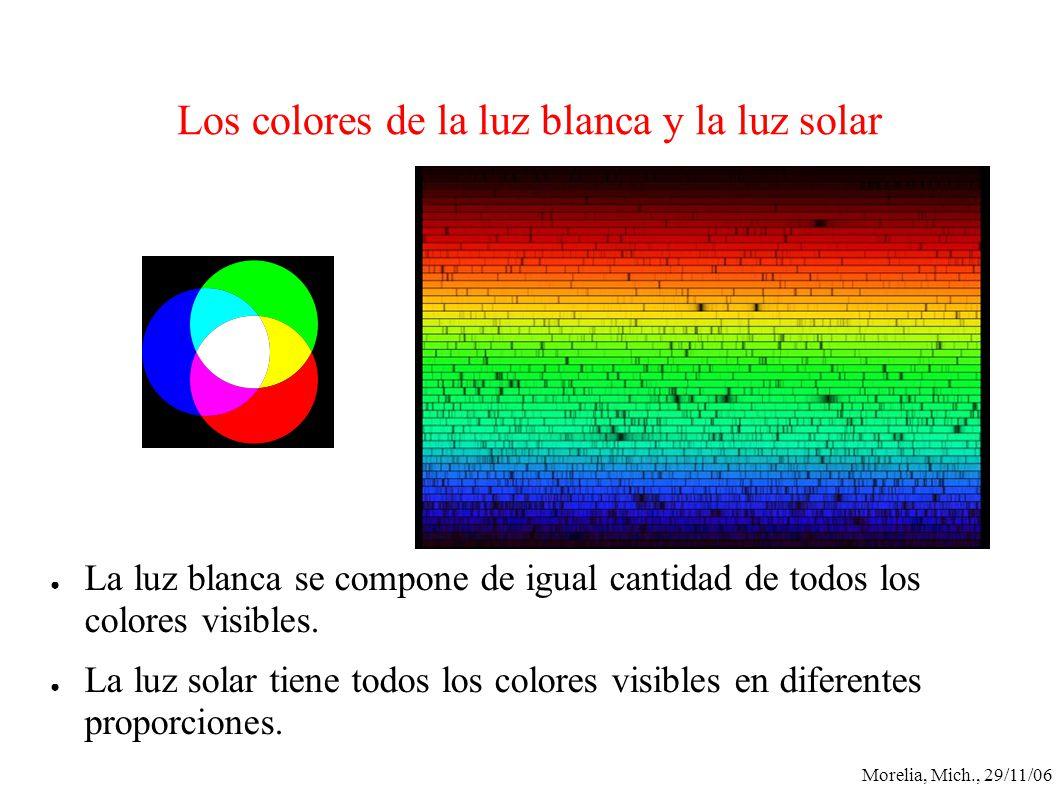 Morelia, Mich., 29/11/06 Los colores de la luz blanca y la luz solar La luz blanca se compone de igual cantidad de todos los colores visibles. La luz