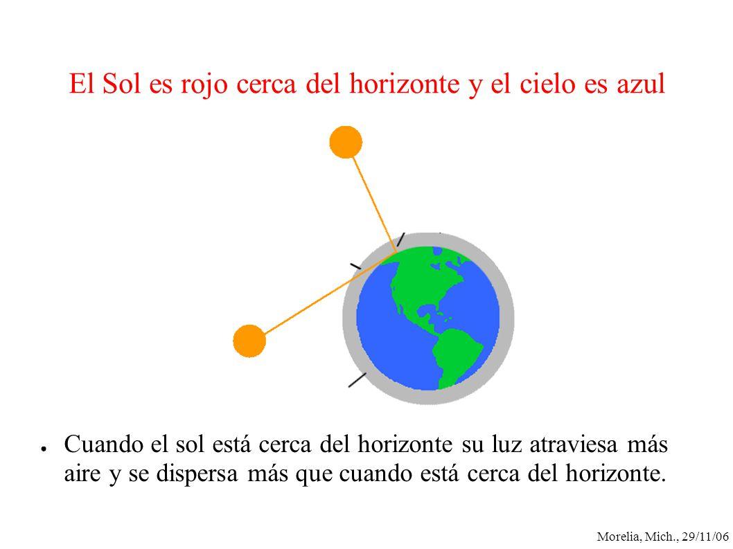 Morelia, Mich., 29/11/06 El Sol es rojo cerca del horizonte y el cielo es azul Cuando el sol está cerca del horizonte su luz atraviesa más aire y se d