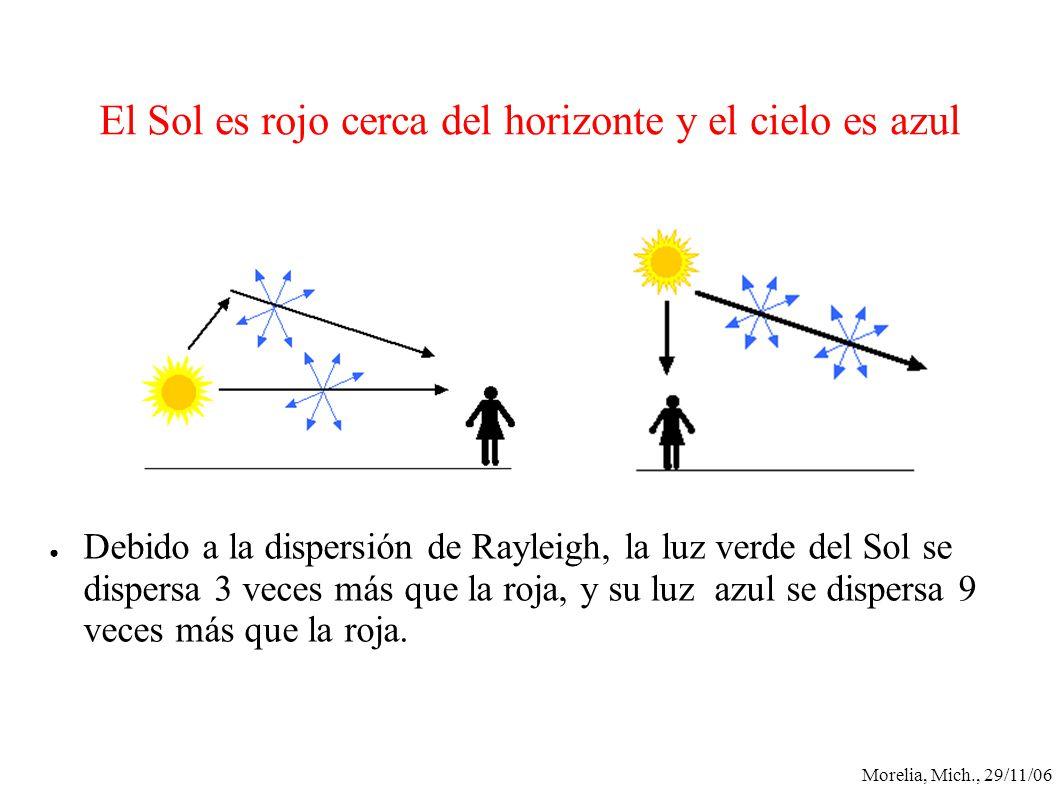 Morelia, Mich., 29/11/06 El Sol es rojo cerca del horizonte y el cielo es azul Debido a la dispersión de Rayleigh, la luz verde del Sol se dispersa 3