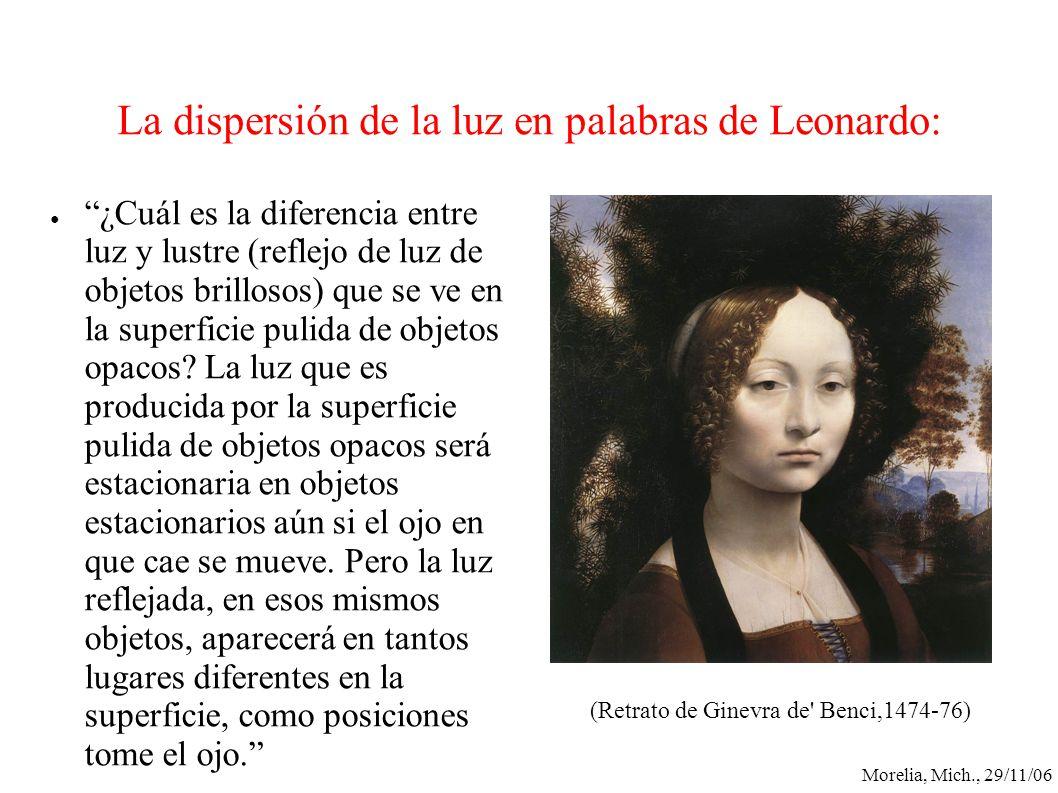 Morelia, Mich., 29/11/06 La dispersión de la luz en palabras de Leonardo: ¿Cuál es la diferencia entre luz y lustre (reflejo de luz de objetos brillos