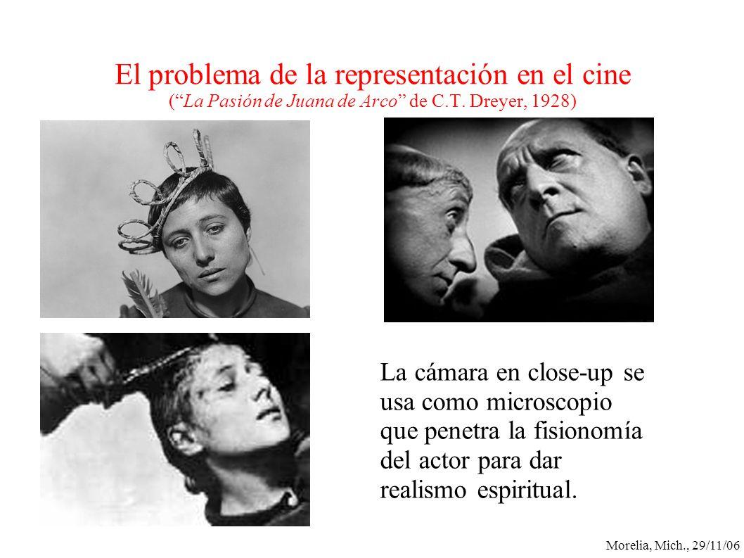 Morelia, Mich., 29/11/06 El problema de la representación en el cine (La Pasión de Juana de Arco de C.T. Dreyer, 1928) La cámara en close-up se usa co
