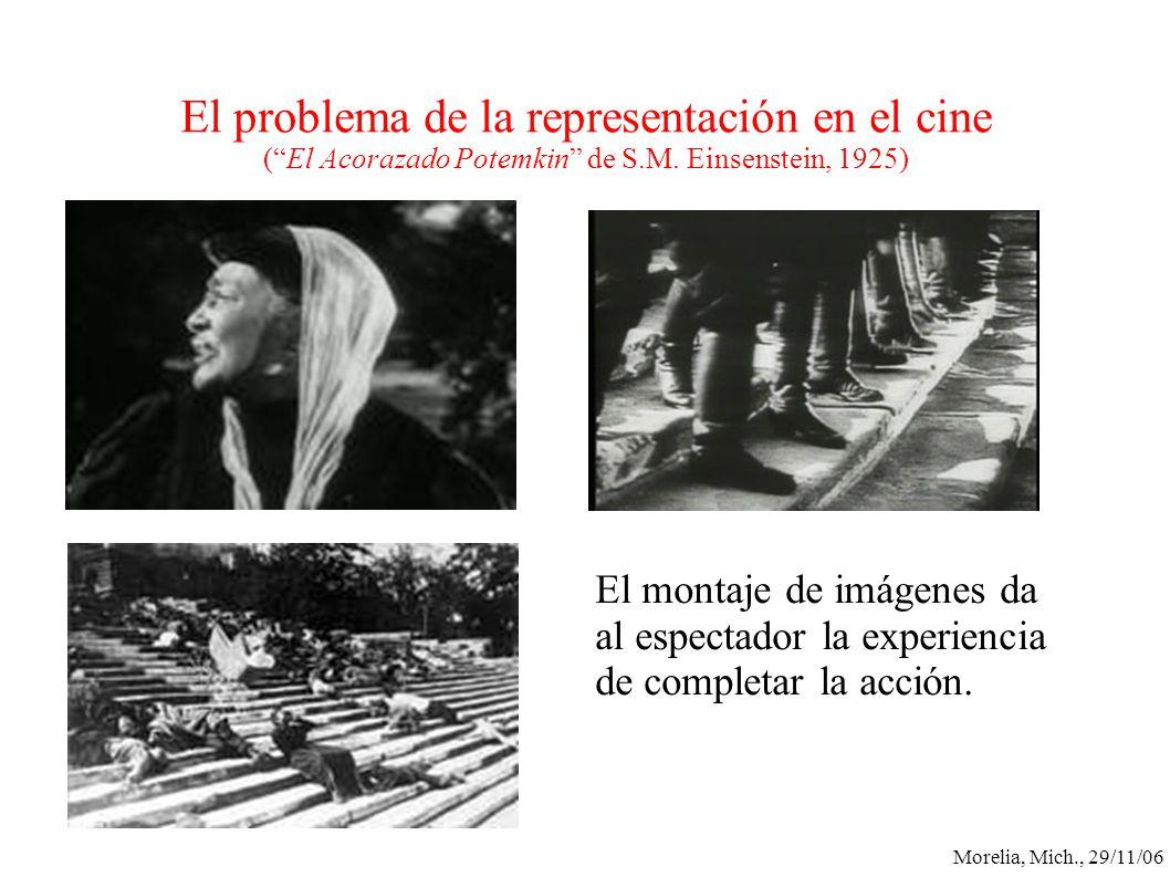 Morelia, Mich., 29/11/06 El problema de la representación en el cine (El Acorazado Potemkin de S.M. Einsenstein, 1925) El montaje de imágenes da al es