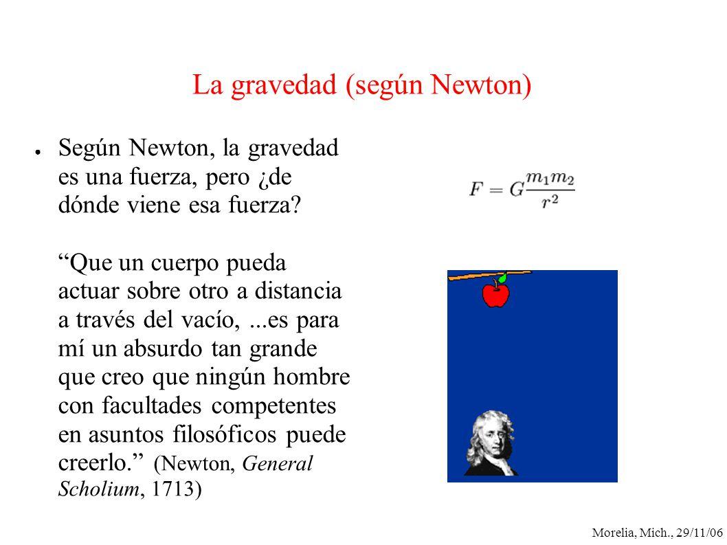 Morelia, Mich., 29/11/06 La gravedad (según Newton) Según Newton, la gravedad es una fuerza, pero ¿de dónde viene esa fuerza? Que un cuerpo pueda actu