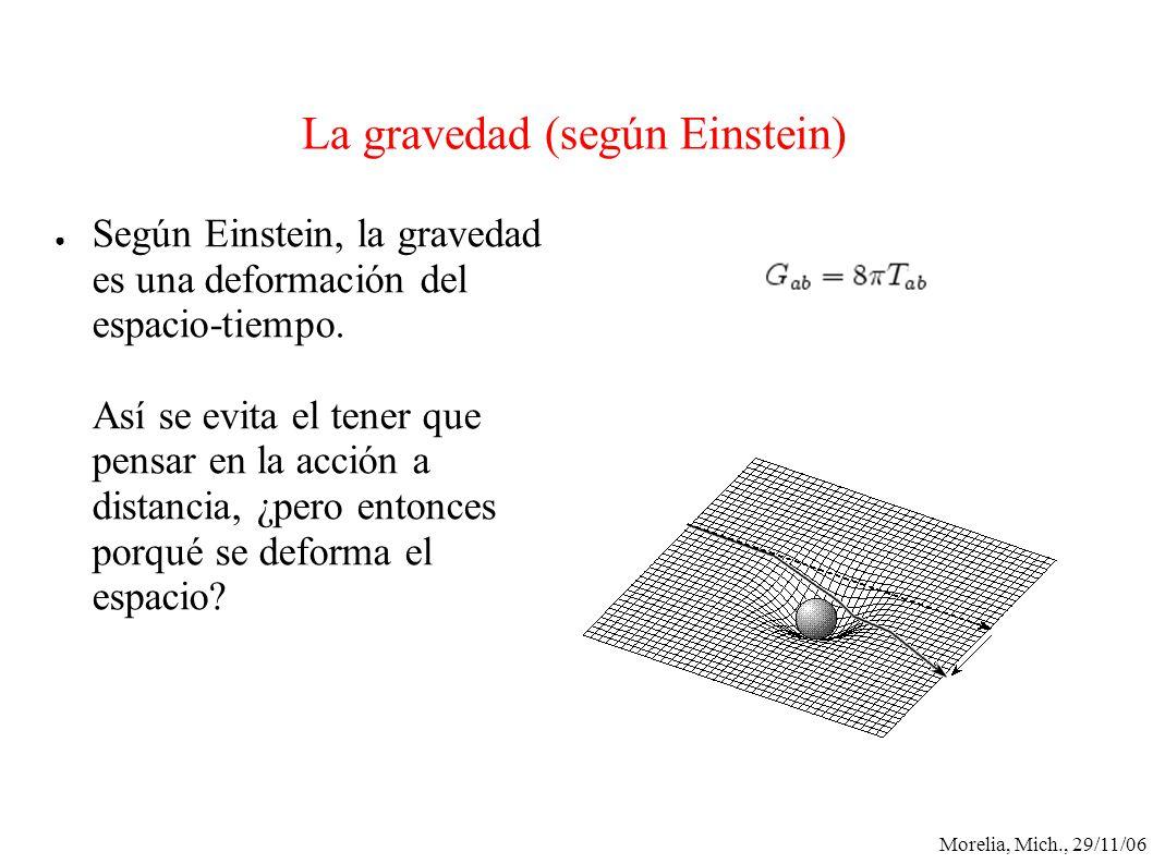 Morelia, Mich., 29/11/06 La gravedad (según Einstein) Según Einstein, la gravedad es una deformación del espacio-tiempo. Así se evita el tener que pen