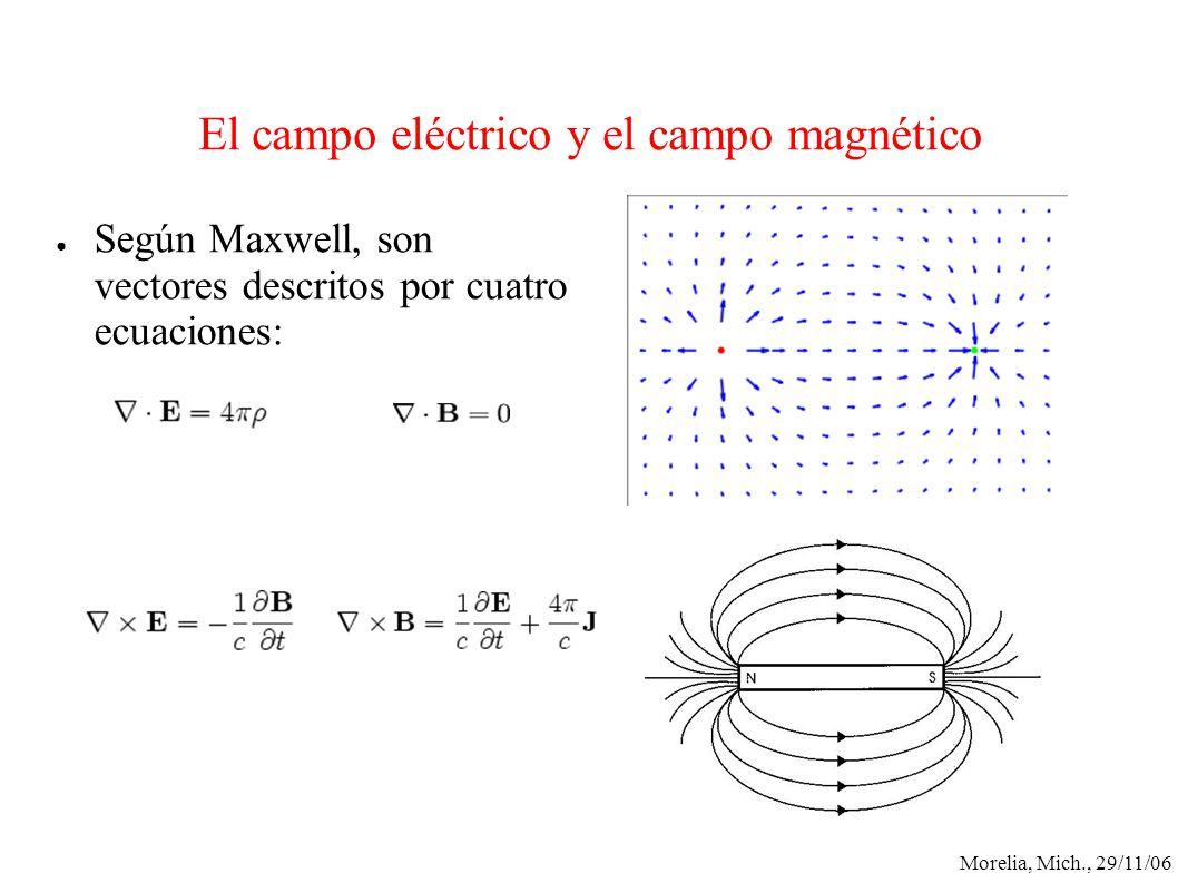 Morelia, Mich., 29/11/06 El campo eléctrico y el campo magnético Según Maxwell, son vectores descritos por cuatro ecuaciones: