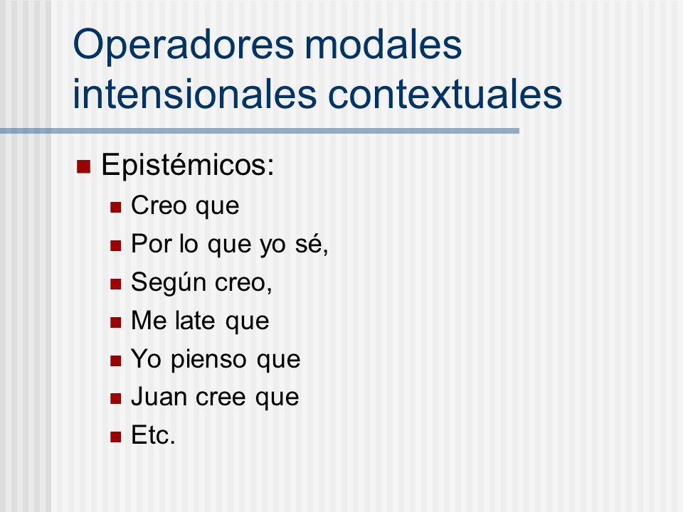 Operadores modales intensionales contextuales Epistémicos: Creo que Por lo que yo sé, Según creo, Me late que Yo pienso que Juan cree que Etc.