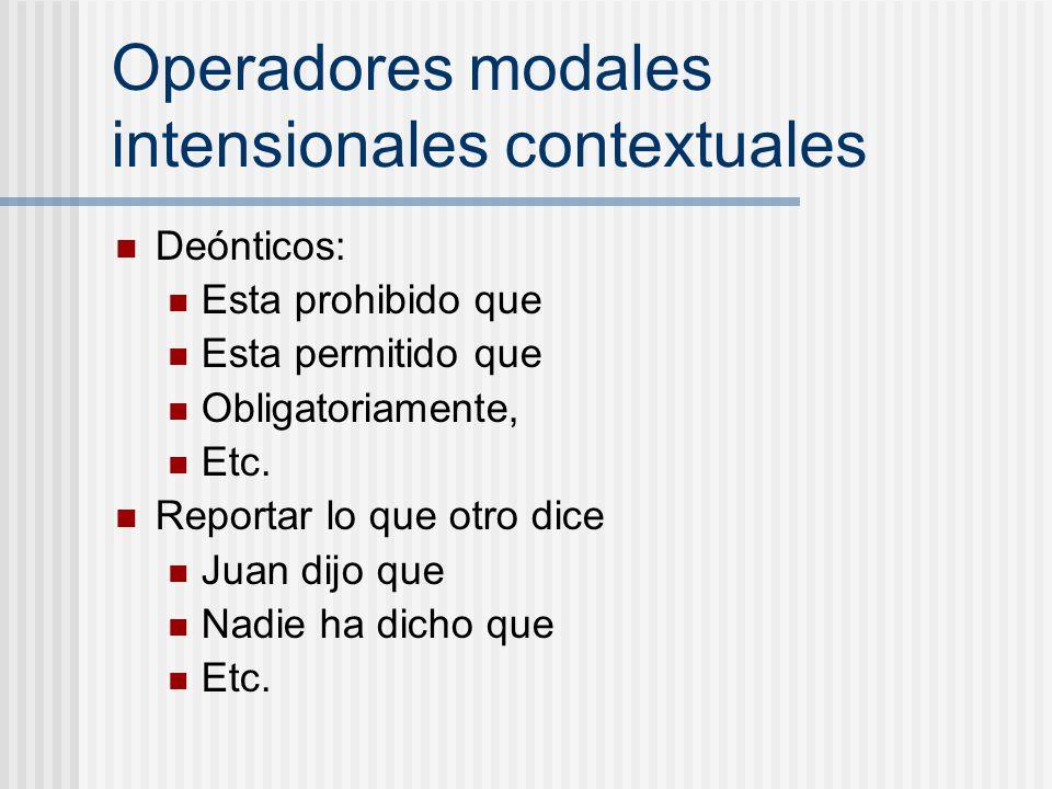 Operadores modales intensionales contextuales Deónticos: Esta prohibido que Esta permitido que Obligatoriamente, Etc. Reportar lo que otro dice Juan d