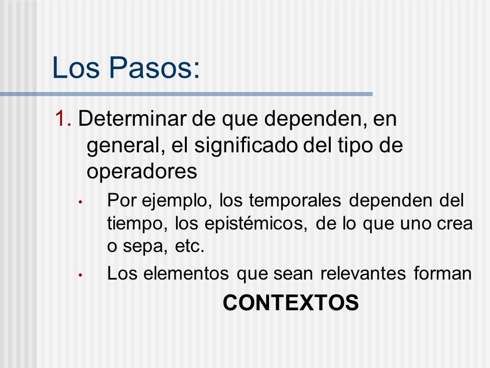 Los Pasos: 1. Determinar de que dependen, en general, el significado del tipo de operadores Por ejemplo, los temporales dependen del tiempo, los epist