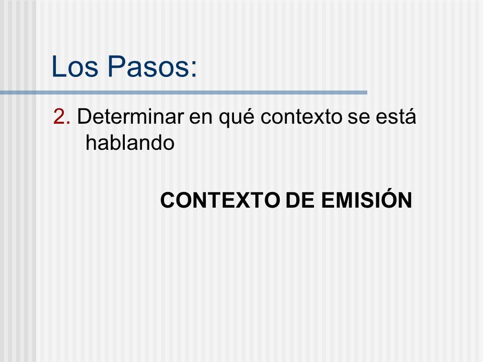 Los Pasos: 2. Determinar en qué contexto se está hablando CONTEXTO DE EMISIÓN