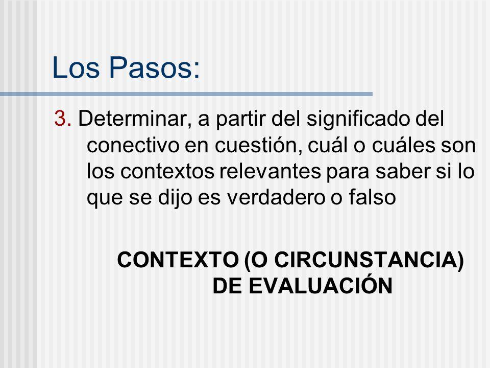 Los Pasos: 3. Determinar, a partir del significado del conectivo en cuestión, cuál o cuáles son los contextos relevantes para saber si lo que se dijo