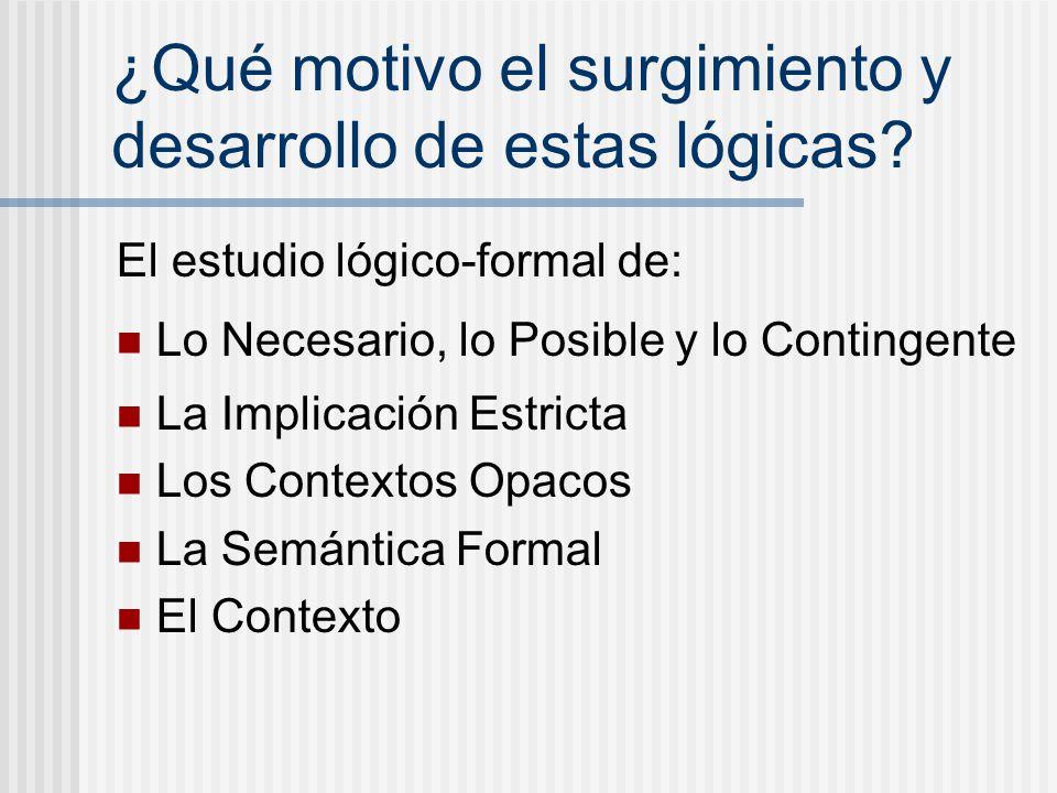 ¿Qué motivo el surgimiento y desarrollo de estas lógicas? El estudio lógico-formal de: Lo Necesario, lo Posible y lo Contingente La Implicación Estric