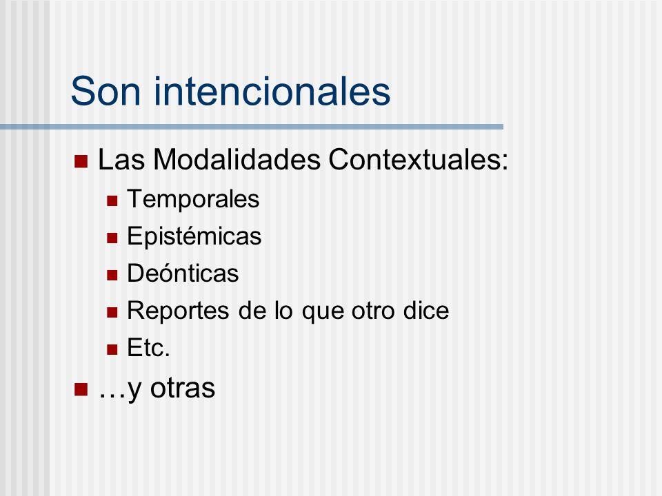 Son intencionales Las Modalidades Contextuales: Temporales Epistémicas Deónticas Reportes de lo que otro dice Etc. …y otras