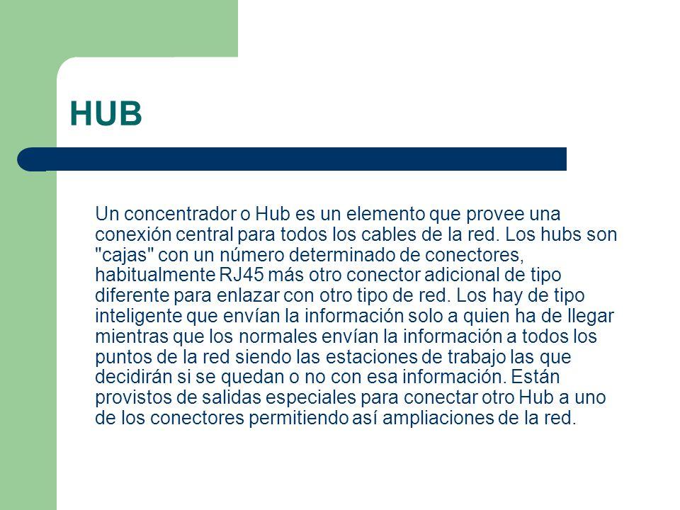 Un concentrador o Hub es un elemento que provee una conexión central para todos los cables de la red. Los hubs son