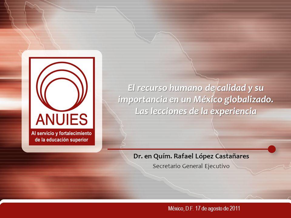 El recurso humano de calidad y su importancia en un México globalizado. Las lecciones de la experiencia Dr. en Quím. Rafael López Castañares Secretari