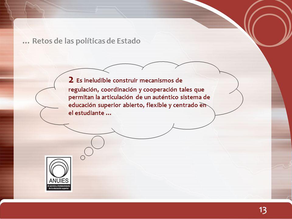 13 … Retos de las políticas de Estado 13 2 Es ineludible construir mecanismos de regulación, coordinación y cooperación tales que permitan la articula