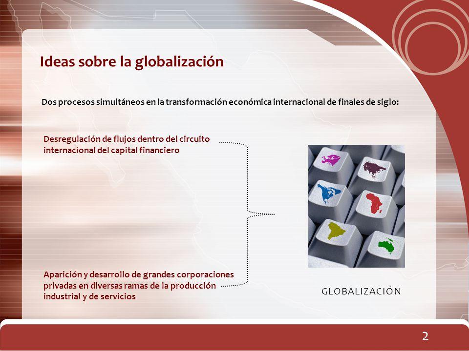 Dos procesos simultáneos en la transformación económica internacional de finales de siglo: 2 Ideas sobre la globalización Desregulación de flujos dent