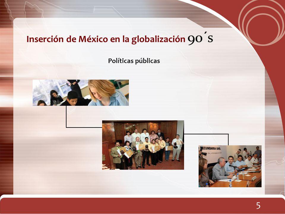 6 Inserción de México en la globalización 90´s CONAEVA Programas de Estímulo al Desempeño FOMES y SUPERA