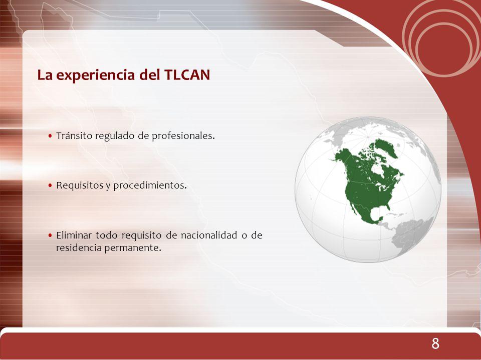 8 La experiencia del TLCAN 8 Tránsito regulado de profesionales. Requisitos y procedimientos. Eliminar todo requisito de nacionalidad o de residencia