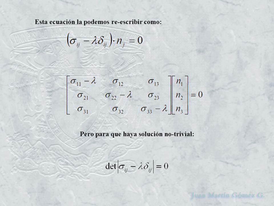 Esta ecuación la podemos re-escribir como: Pero para que haya solución no-trivial: