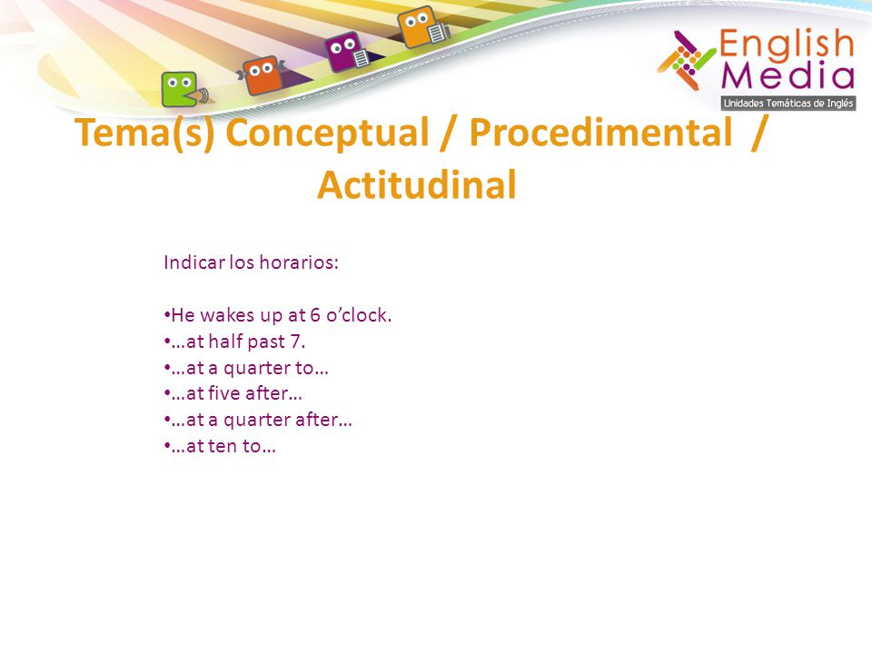 Tema(s) Conceptual / Procedimental / Actitudinal Indicar los horarios: He wakes up at 6 oclock. …at half past 7. …at a quarter to… …at five after… …at