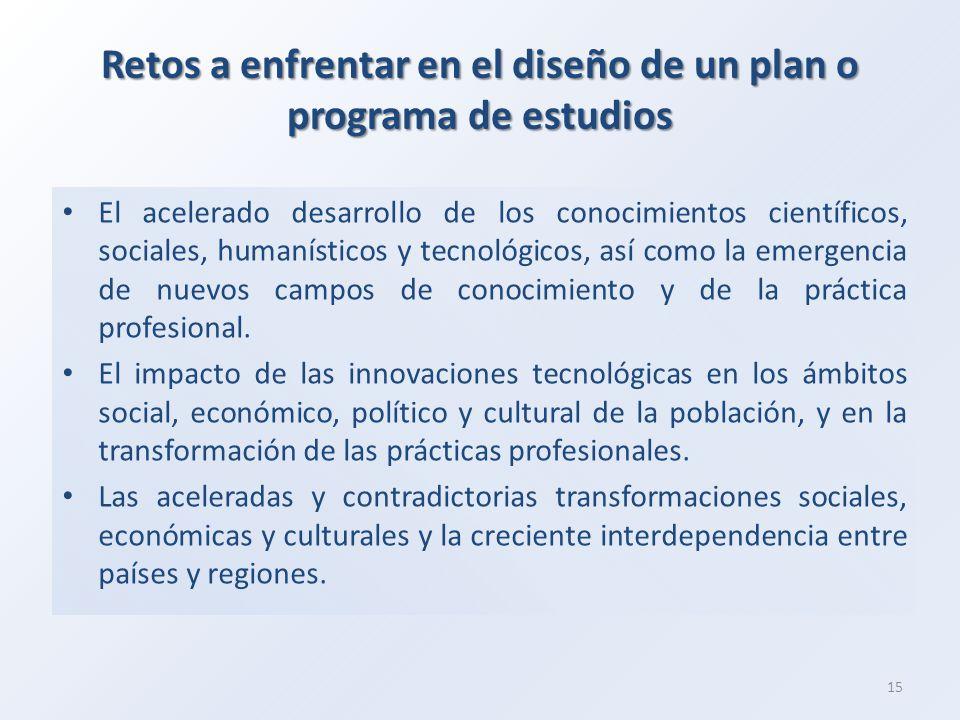 Retos a enfrentar en el diseño de un plan o programa de estudios El acelerado desarrollo de los conocimientos científicos, sociales, humanísticos y tecnológicos, así como la emergencia de nuevos campos de conocimiento y de la práctica profesional.