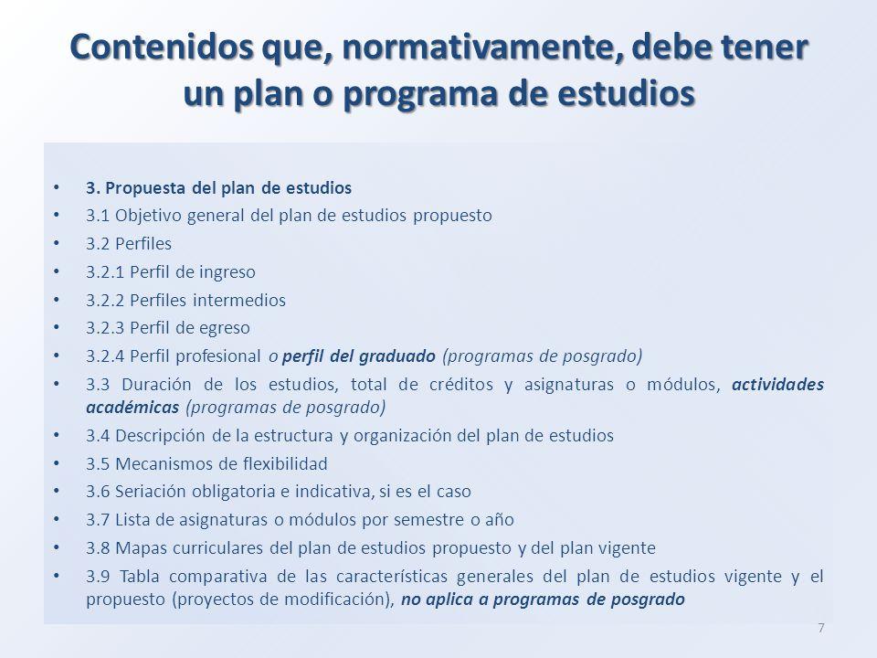 Contenidos que, normativamente, debe tener un plan o programa de estudios 3.