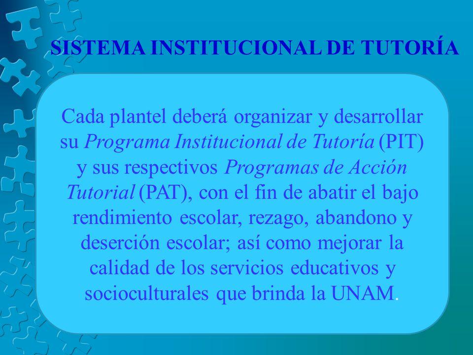 SISTEMA INSTITUCIONAL DE TUTORÍA Cada plantel deberá organizar y desarrollar su Programa Institucional de Tutoría (PIT) y sus respectivos Programas de Acción Tutorial (PAT), con el fin de abatir el bajo rendimiento escolar, rezago, abandono y deserción escolar; así como mejorar la calidad de los servicios educativos y socioculturales que brinda la UNAM.