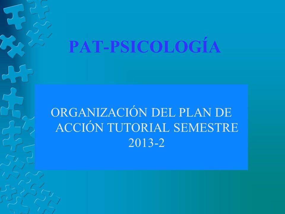 PAT-PSICOLOGÍA ORGANIZACIÓN DEL PLAN DE ACCIÓN TUTORIAL SEMESTRE 2013-2