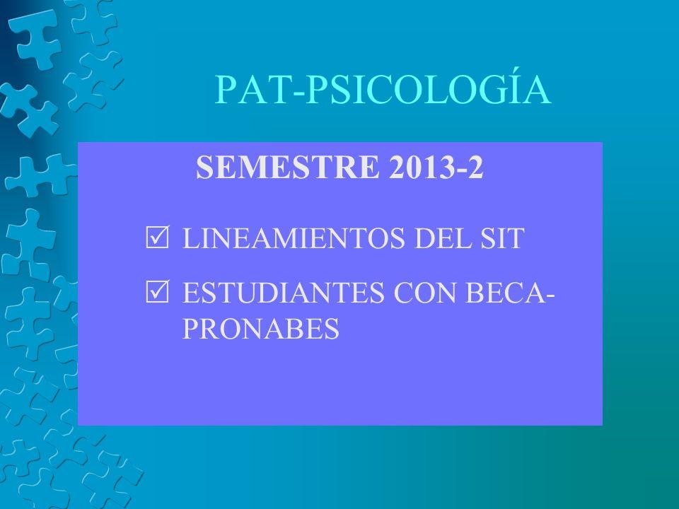 PAT-PSICOLOGÍA SEMESTRE 2013-2 LINEAMIENTOS DEL SIT ESTUDIANTES CON BECA- PRONABES