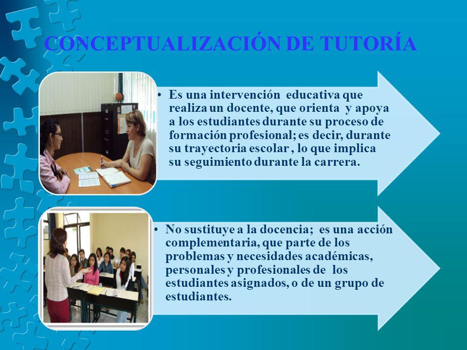 CONCEPTUALIZACIÓN DE TUTORÍA Es una intervención educativa que realiza un docente, que orienta y apoya a los estudiantes durante su proceso de formación profesional; es decir, durante su trayectoria escolar, lo que implica su seguimiento durante la carrera.