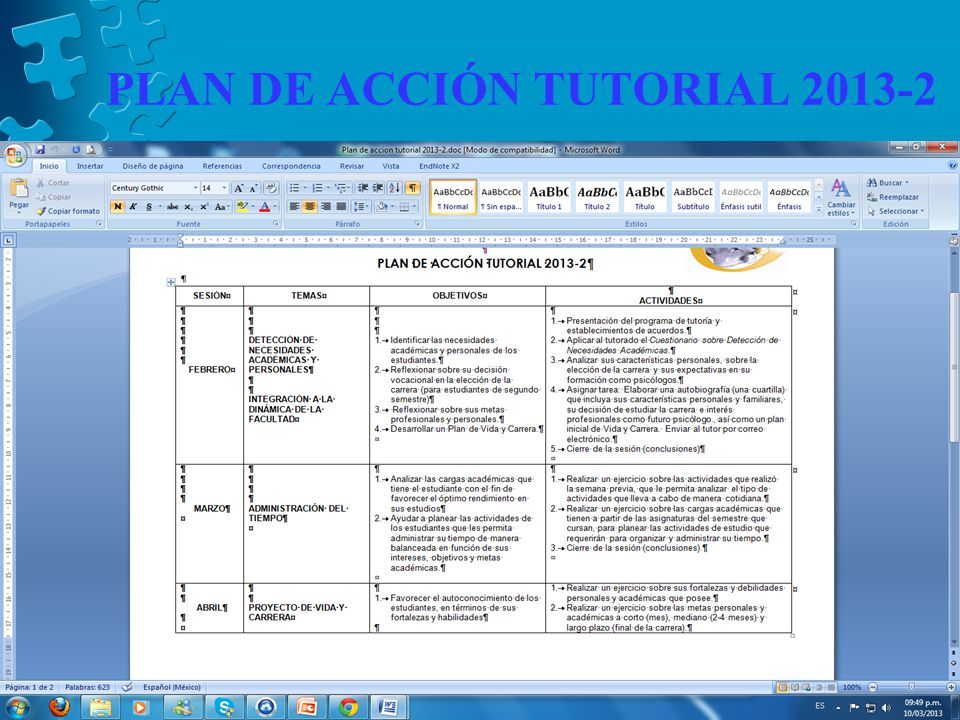 PLAN DE ACCIÓN TUTORIAL 2013-2