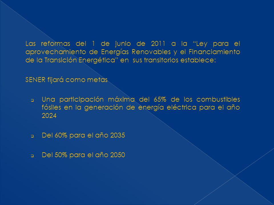 Las reformas del 1 de junio de 2011 a la Ley para el aprovechamiento de Energías Renovables y el Financiamiento de la Transición Energética en sus tra