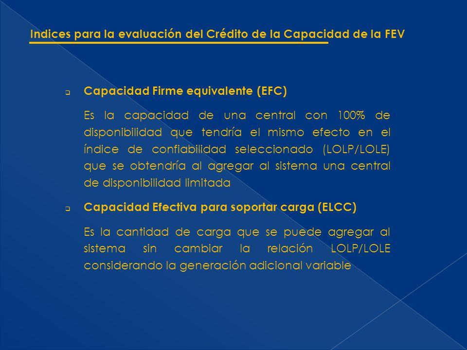 Capacidad Firme equivalente (EFC) Es la capacidad de una central con 100% de disponibilidad que tendría el mismo efecto en el índice de confiabilidad seleccionado (LOLP/LOLE) que se obtendría al agregar al sistema una central de disponibilidad limitada Capacidad Efectiva para soportar carga (ELCC) Es la cantidad de carga que se puede agregar al sistema sin cambiar la relación LOLP/LOLE considerando la generación adicional variable Indices para la evaluación del Crédito de la Capacidad de la FEV