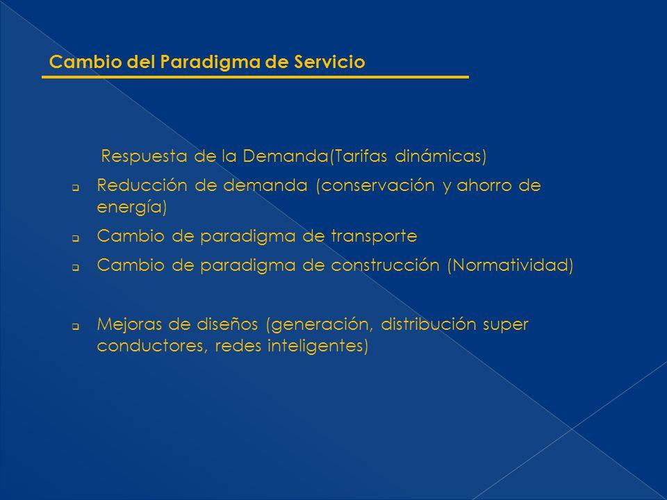 Cambio del Paradigma de Servicio Respuesta de la Demanda(Tarifas dinámicas) Reducción de demanda (conservación y ahorro de energía) Cambio de paradigm