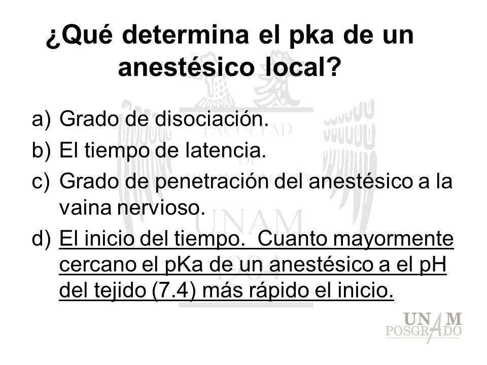 ¿Qué determina el pka de un anestésico local? a)Grado de disociación. b)El tiempo de latencia. c)Grado de penetración del anestésico a la vaina nervio