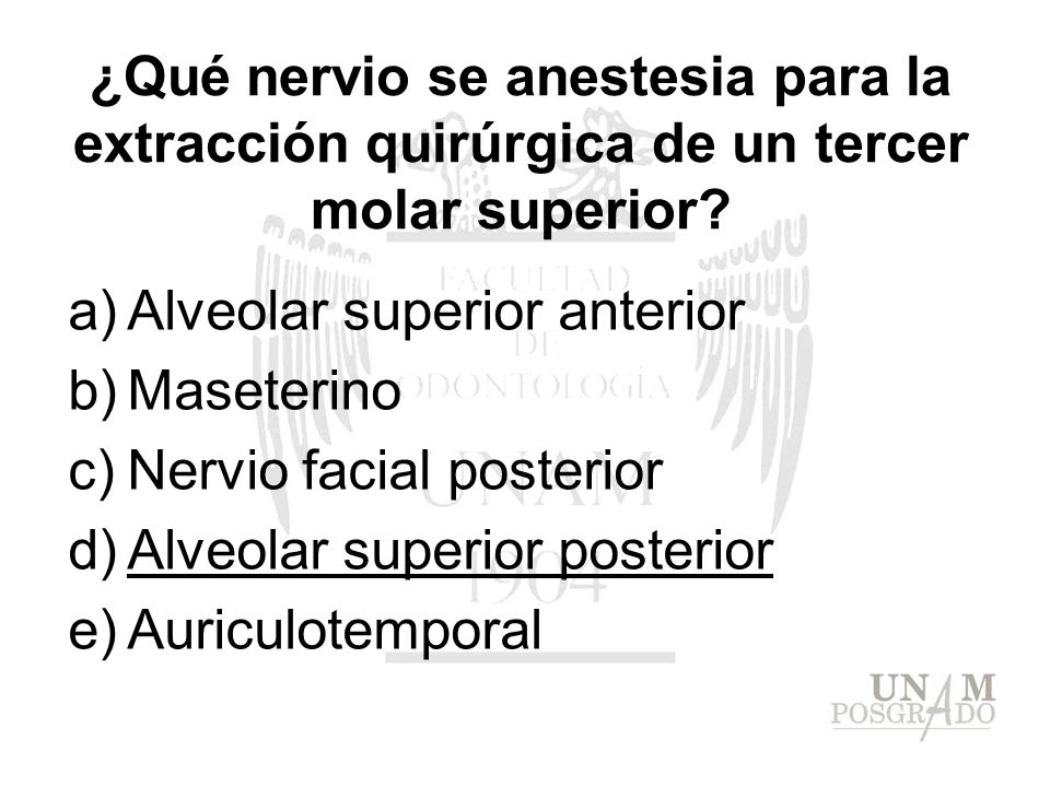 ¿Qué nervio se anestesia para la extracción quirúrgica de un tercer molar superior? a)Alveolar superior anterior b)Maseterino c)Nervio facial posterio