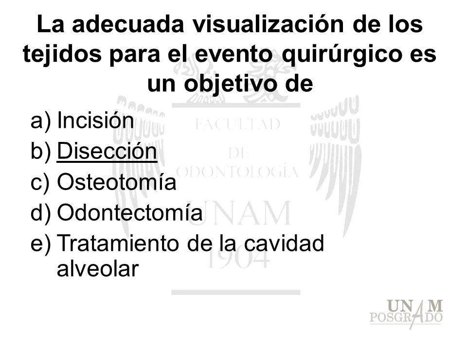 a)Incisión b)Disección c)Osteotomía d)Odontectomía e)Tratamiento de la cavidad alveolar La adecuada visualización de los tejidos para el evento quirúr