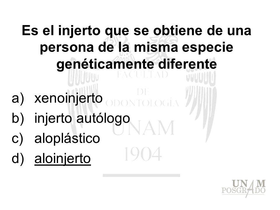 a)xenoinjerto b)injerto autólogo c)aloplástico d)aloinjerto Es el injerto que se obtiene de una persona de la misma especie genéticamente diferente