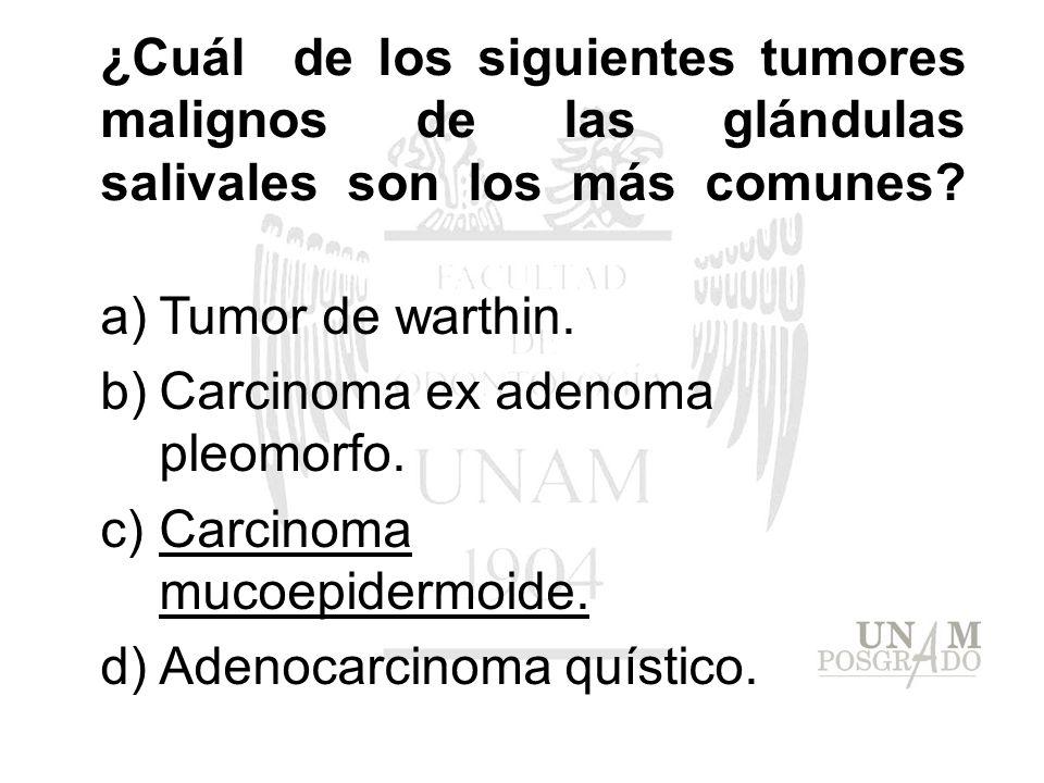 ¿Cuál de los siguientes tumores malignos de las glándulas salivales son los más comunes? a)Tumor de warthin. b)Carcinoma ex adenoma pleomorfo. c)Carci
