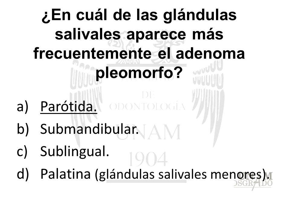 ¿En cuál de las glándulas salivales aparece más frecuentemente el adenoma pleomorfo? a)Parótida. b)Submandibular. c)Sublingual. d)Palatina (glándulas