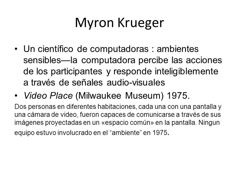 Myron Krueger Un científico de computadoras : ambientes sensiblesla computadora percibe las acciones de los participantes y responde inteligiblemente