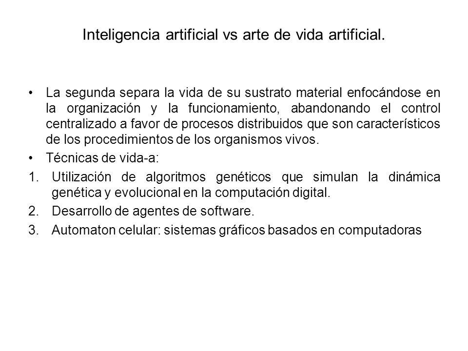 Inteligencia artificial vs arte de vida artificial. La segunda separa la vida de su sustrato material enfocándose en la organización y la funcionamien