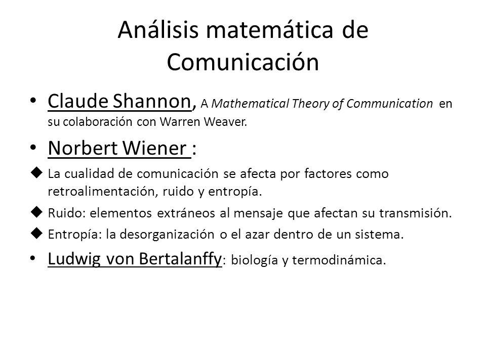 Análisis matemática de Comunicación Claude Shannon, A Mathematical Theory of Communication en su colaboración con Warren Weaver. Norbert Wiener : La c