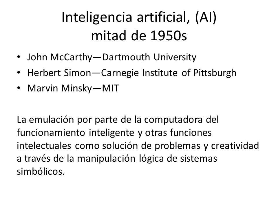 Inteligencia artificial, (AI) mitad de 1950s John McCarthyDartmouth University Herbert SimonCarnegie Institute of Pittsburgh Marvin MinskyMIT La emula