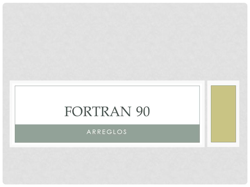 EL ATRIBUTO DIMENSION Fortran 90 utiliza el atributo DIMENSION para declarar arreglos.