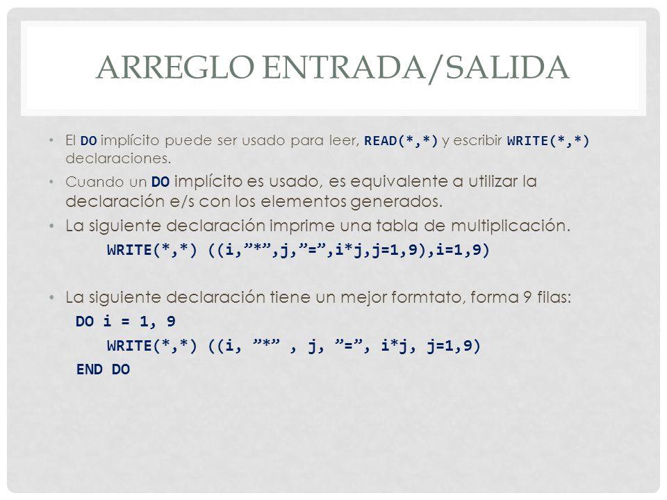 ARREGLO ENTRADA/SALIDA El DO implícito puede ser usado para leer, READ(*,*) y escribir WRITE(*,*) declaraciones.
