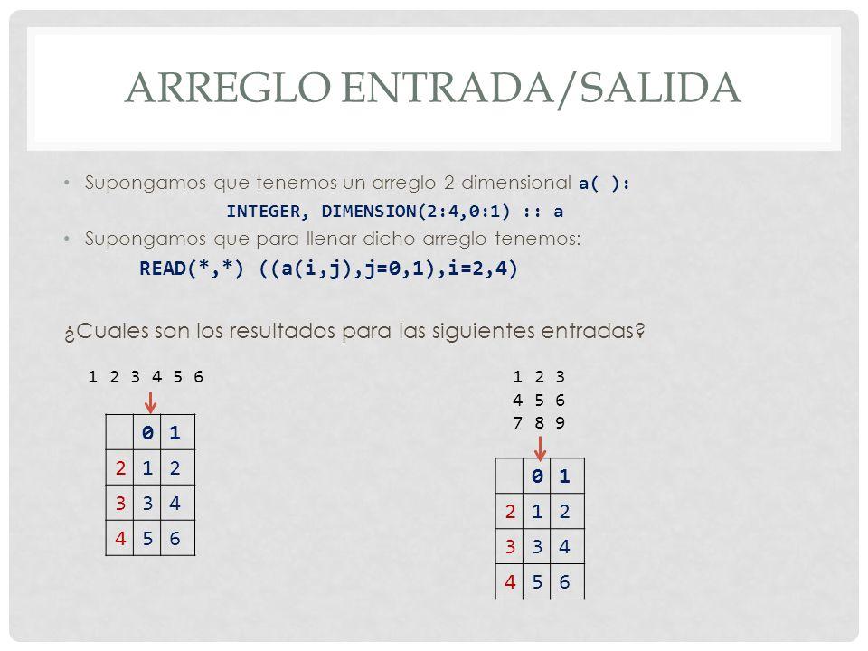 ARREGLO ENTRADA/SALIDA Supongamos que tenemos un arreglo 2-dimensional a( ): INTEGER, DIMENSION(2:4,0:1) :: a Supongamos que para llenar dicho arreglo tenemos: READ(*,*) ((a(i,j),j=0,1),i=2,4) ¿Cuales son los resultados para las siguientes entradas.