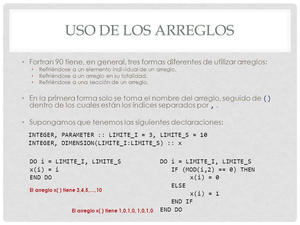 USO DE LOS ARREGLOS Fortran 90 tiene, en general, tres formas diferentes de utilizar arreglos: Refiriéndose a un elemento individual de un arreglo.