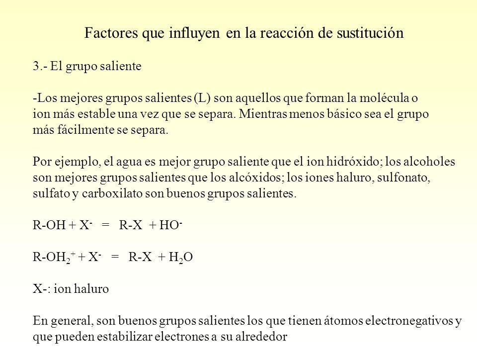 3.- El grupo saliente -Los mejores grupos salientes (L) son aquellos que forman la molécula o ion más estable una vez que se separa. Mientras menos bá